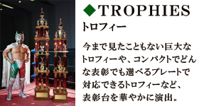 TROPHIES トロフィー 今まで見たこともない巨大なトロフィーや、コンパクトでどんな表彰でも選べるプレートで対応できるトロフィーなど、表彰台を華やかに演出。